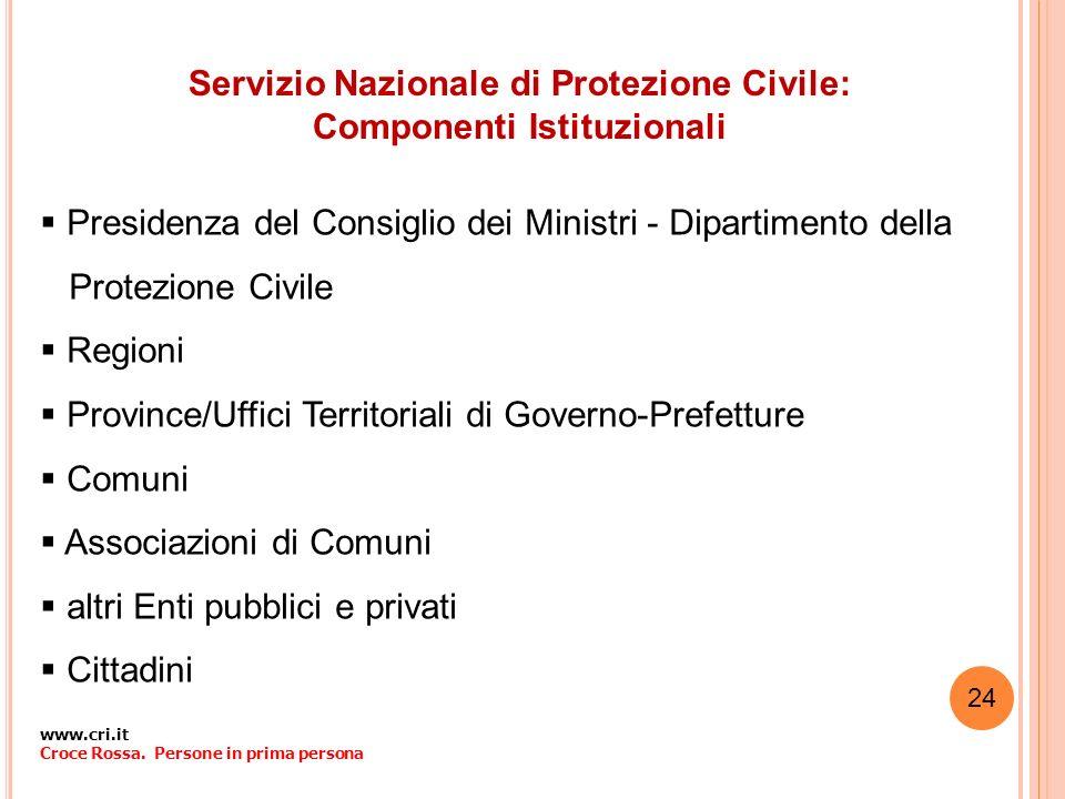 Servizio Nazionale di Protezione Civile: Componenti Istituzionali