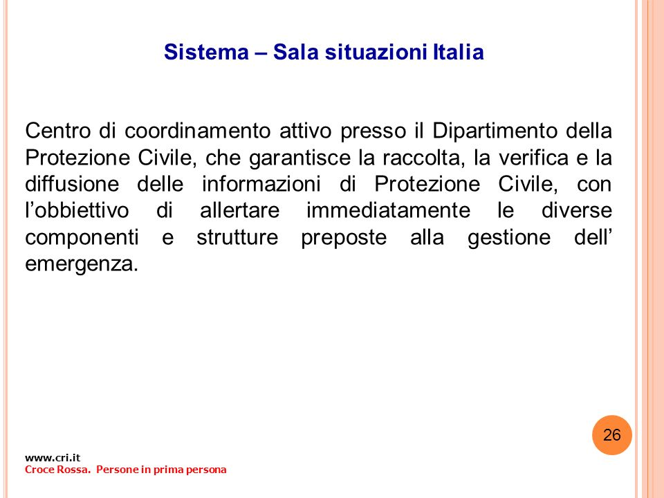 Sistema – Sala situazioni Italia