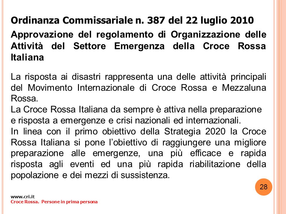 Ordinanza Commissariale n. 387 del 22 luglio 2010