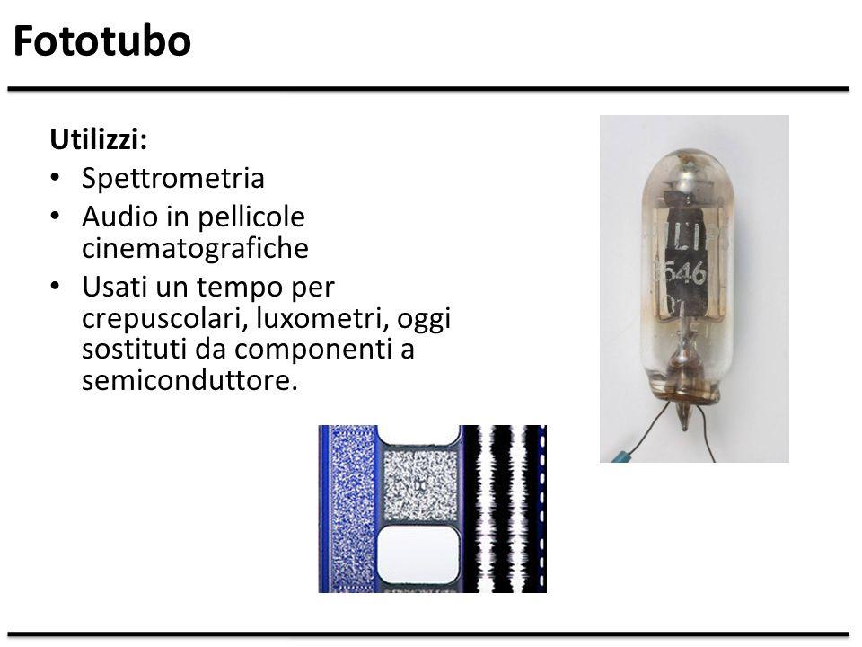 Fototubo Utilizzi: Spettrometria Audio in pellicole cinematografiche