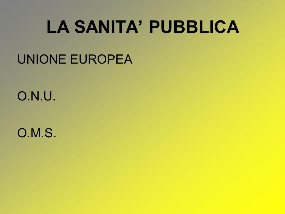LA SANITA' PUBBLICA UNIONE EUROPEA O.N.U. O.M.S.
