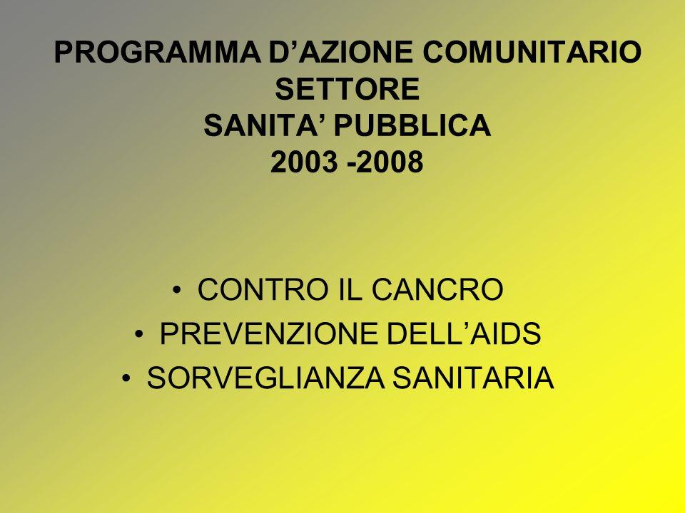PROGRAMMA D'AZIONE COMUNITARIO SETTORE SANITA' PUBBLICA 2003 -2008