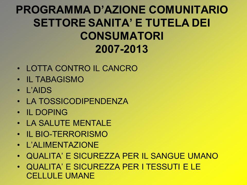PROGRAMMA D'AZIONE COMUNITARIO SETTORE SANITA' E TUTELA DEI CONSUMATORI 2007-2013