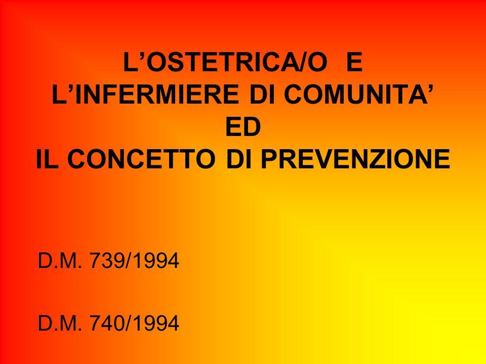 L'OSTETRICA/O E L'INFERMIERE DI COMUNITA' ED IL CONCETTO DI PREVENZIONE