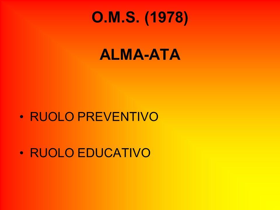 O.M.S. (1978) ALMA-ATA RUOLO PREVENTIVO RUOLO EDUCATIVO