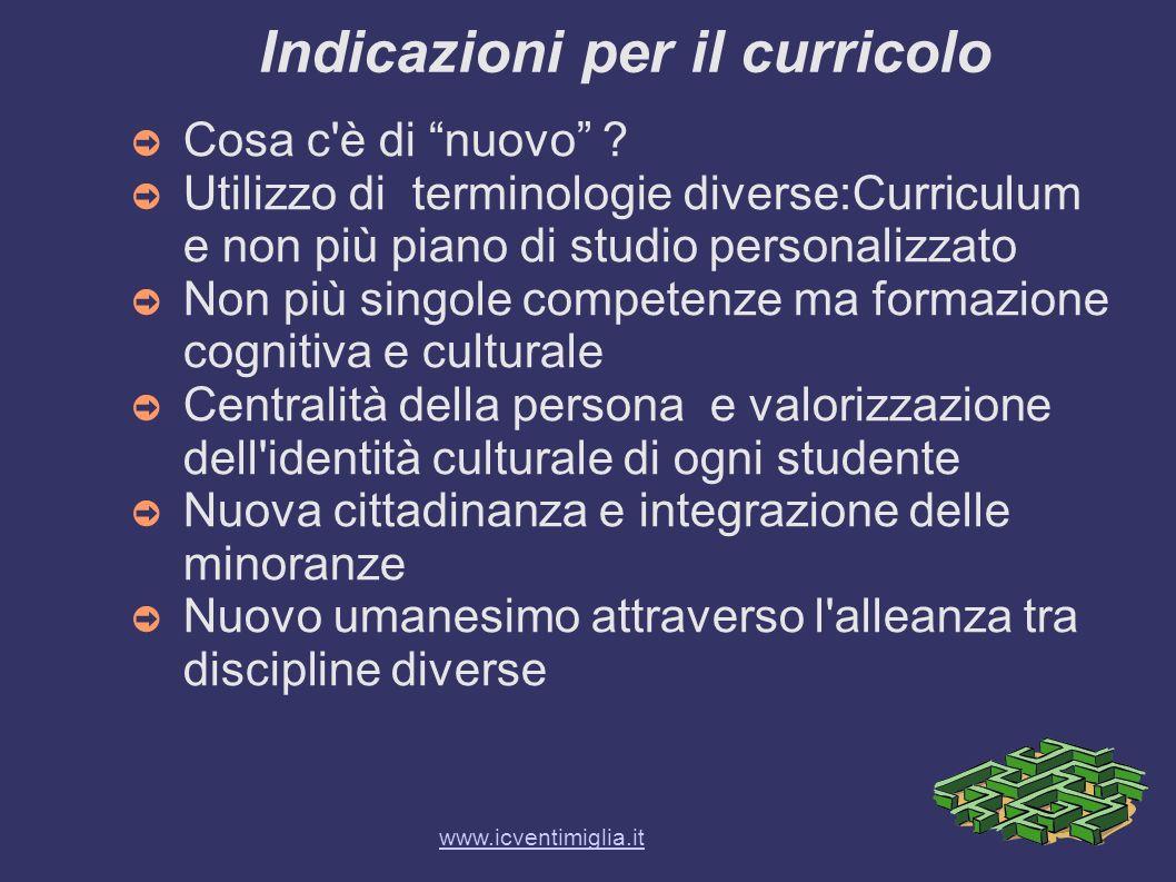 Indicazioni per il curricolo