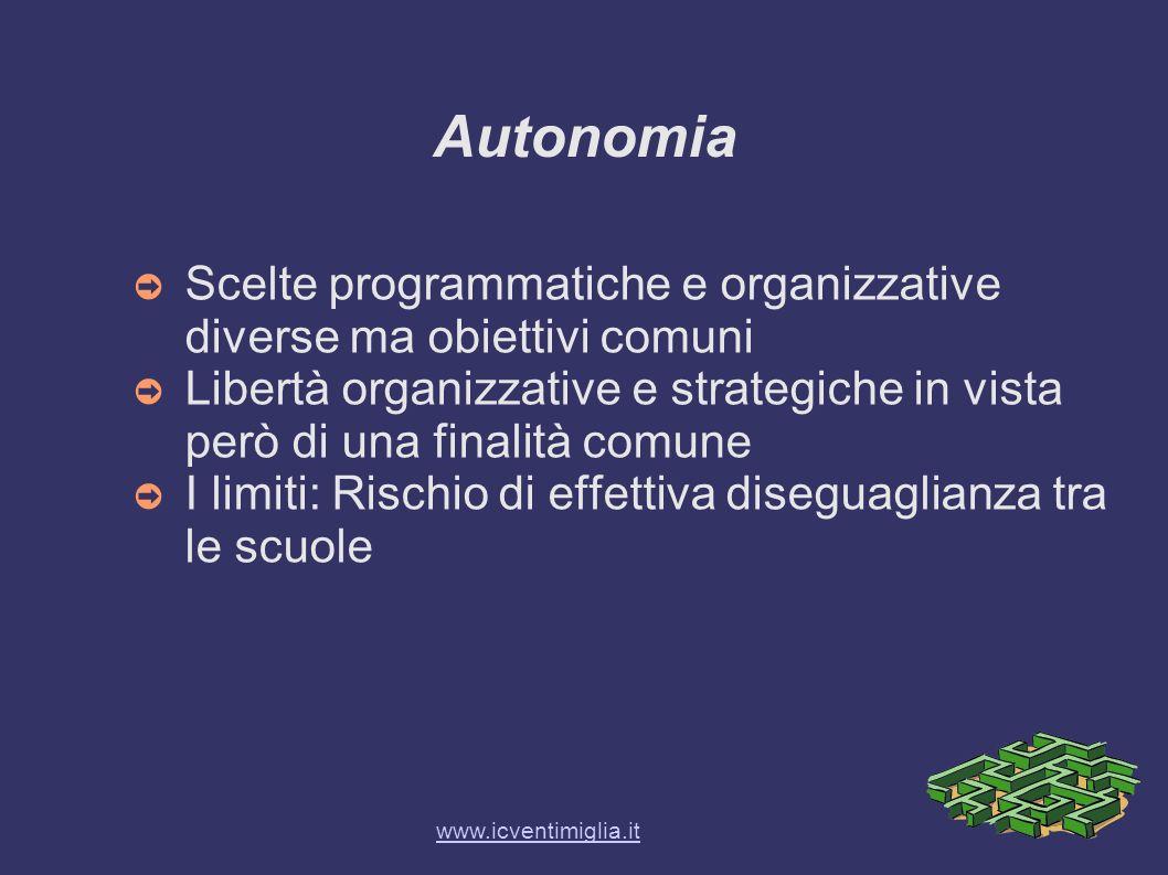 Autonomia Scelte programmatiche e organizzative diverse ma obiettivi comuni.