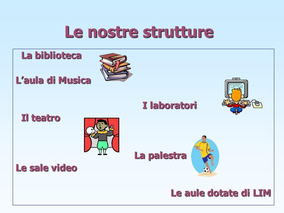 Le nostre strutture La biblioteca L'aula di Musica I laboratori