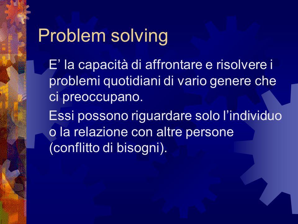 Problem solving E' la capacità di affrontare e risolvere i problemi quotidiani di vario genere che ci preoccupano.