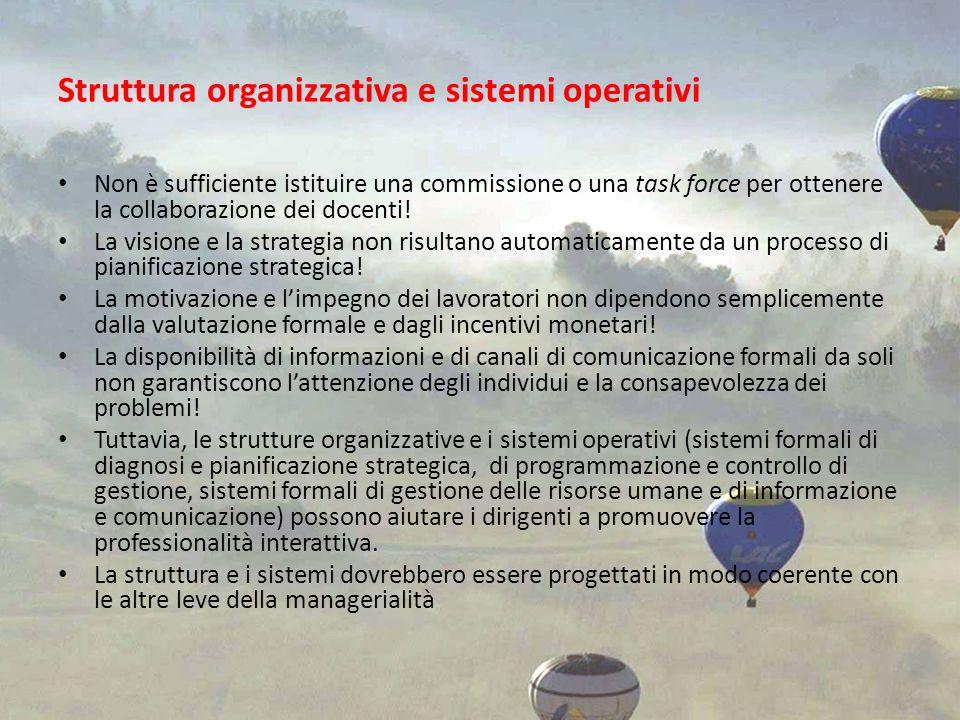 Struttura organizzativa e sistemi operativi