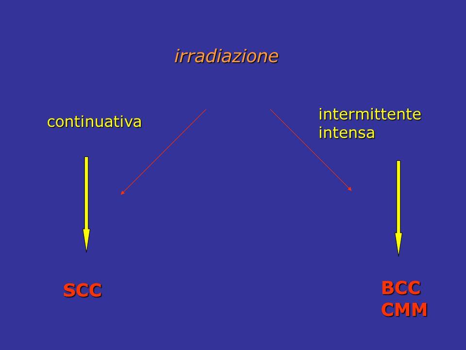 irradiazione intermittente intensa continuativa SCC BCC CMM