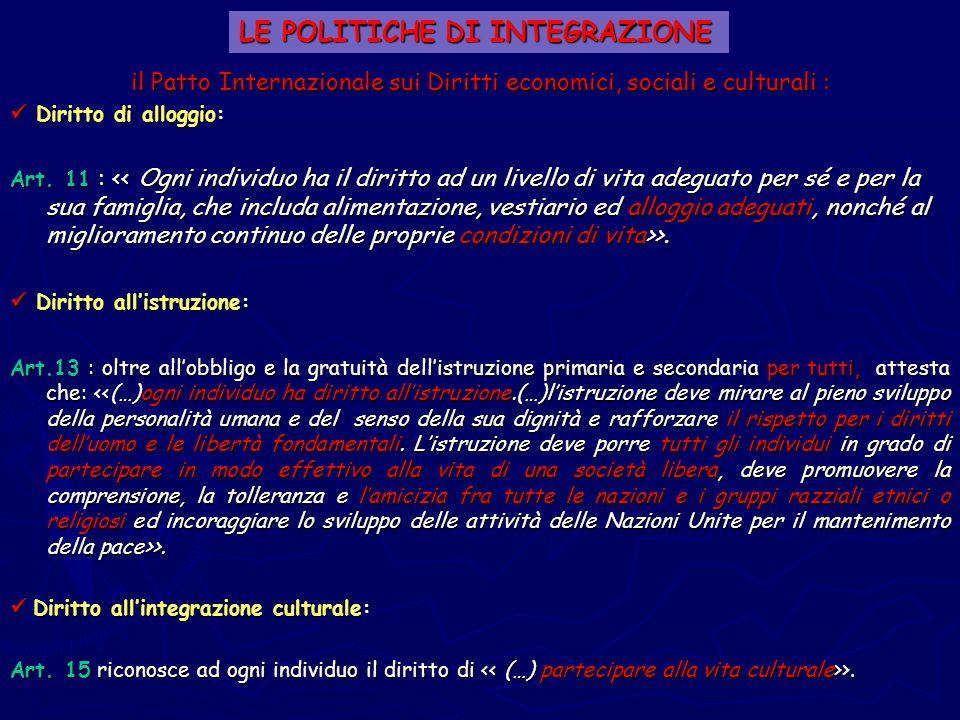 LE POLITICHE DI INTEGRAZIONE