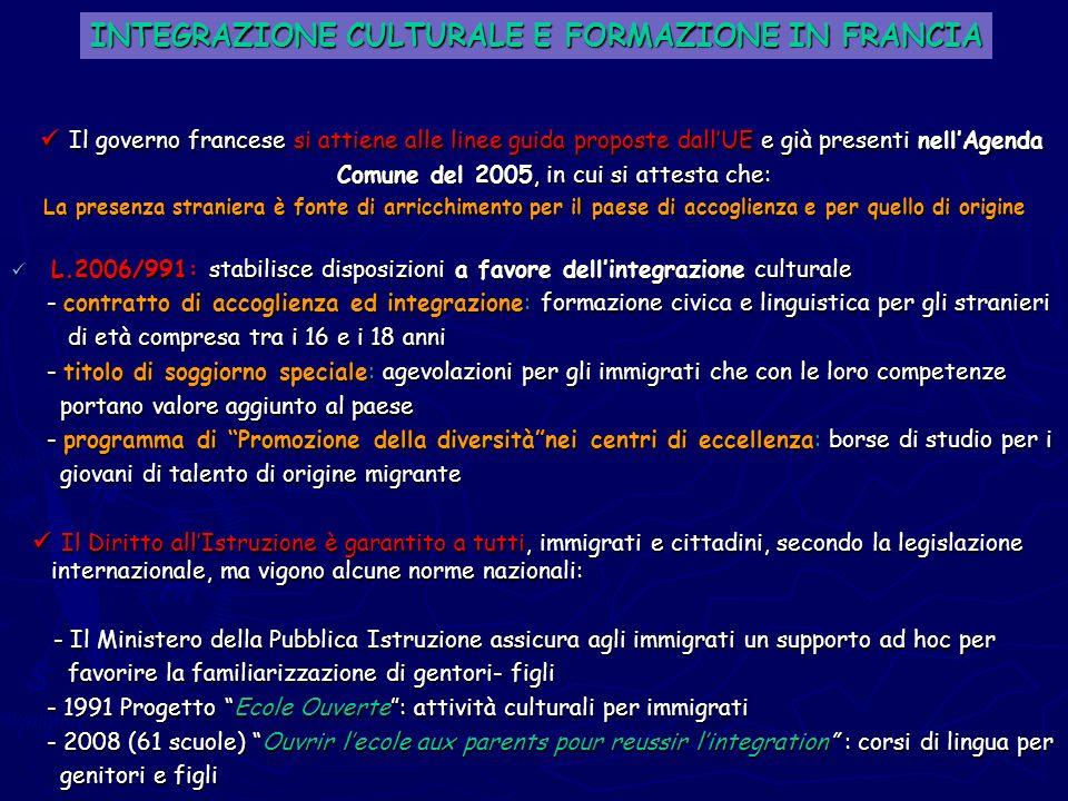 INTEGRAZIONE CULTURALE E FORMAZIONE IN FRANCIA
