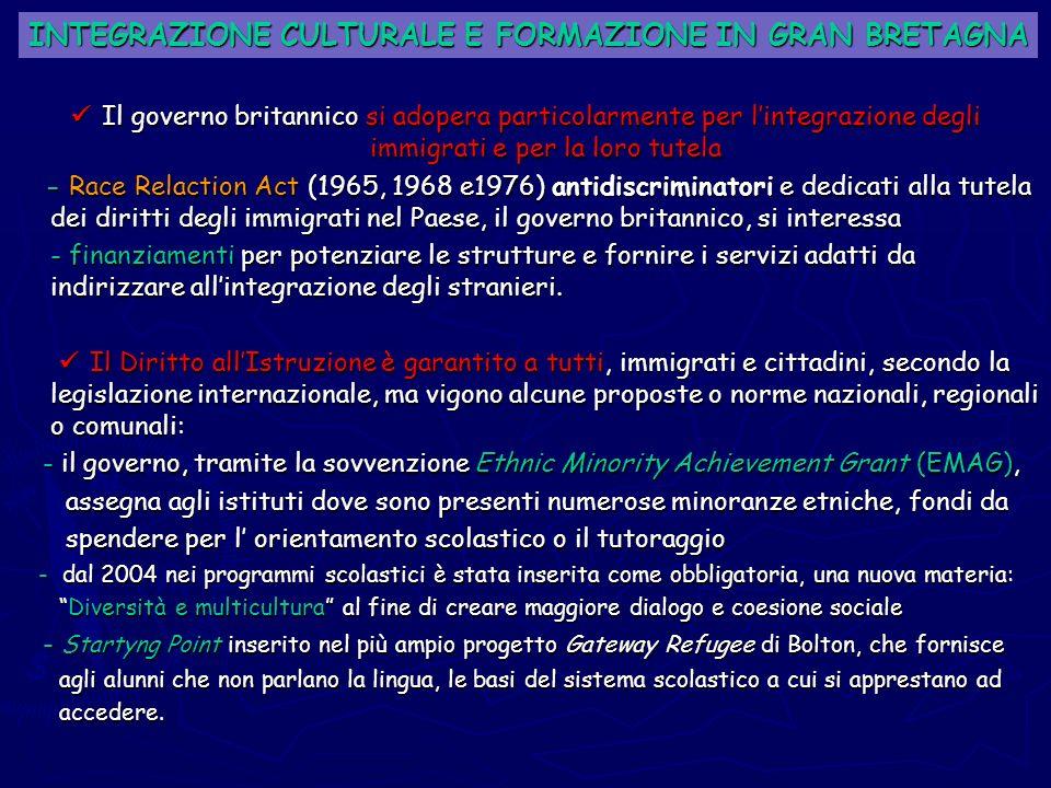 INTEGRAZIONE CULTURALE E FORMAZIONE IN GRAN BRETAGNA