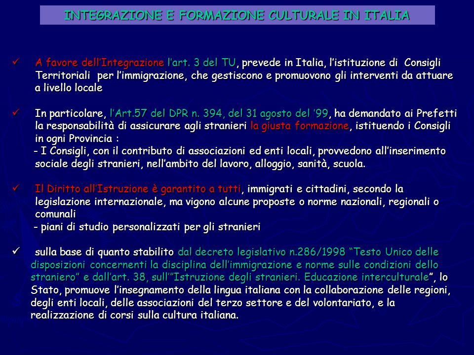 INTEGRAZIONE E FORMAZIONE CULTURALE IN ITALIA