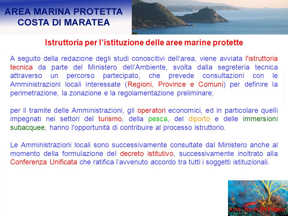 Istruttoria per l'istituzione delle aree marine protette