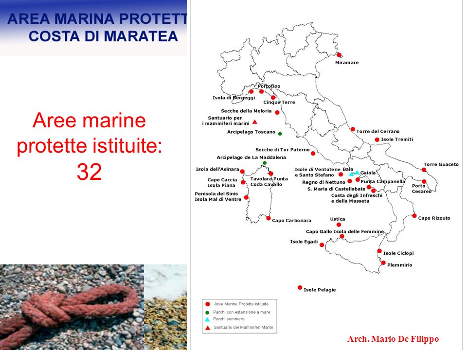 Aree marine protette istituite: 32