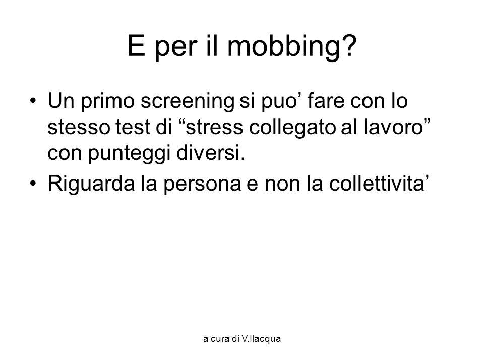 E per il mobbing Un primo screening si puo' fare con lo stesso test di stress collegato al lavoro con punteggi diversi.