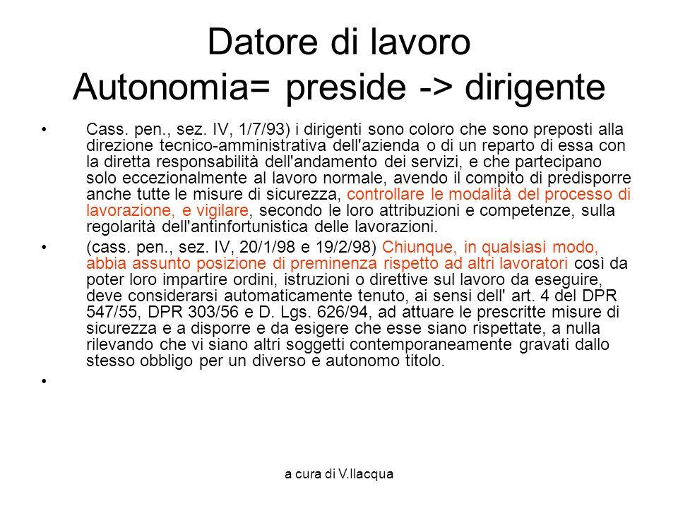 Datore di lavoro Autonomia= preside -> dirigente