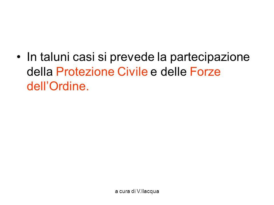 In taluni casi si prevede la partecipazione della Protezione Civile e delle Forze dell'Ordine.
