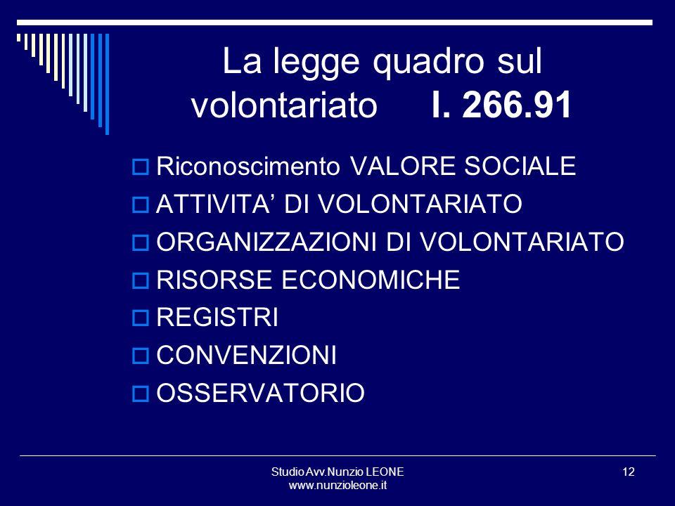 La legge quadro sul volontariato l. 266.91
