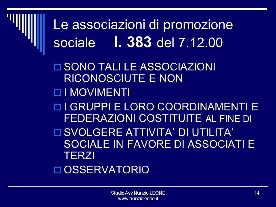 Le associazioni di promozione sociale l. 383 del 7.12.00