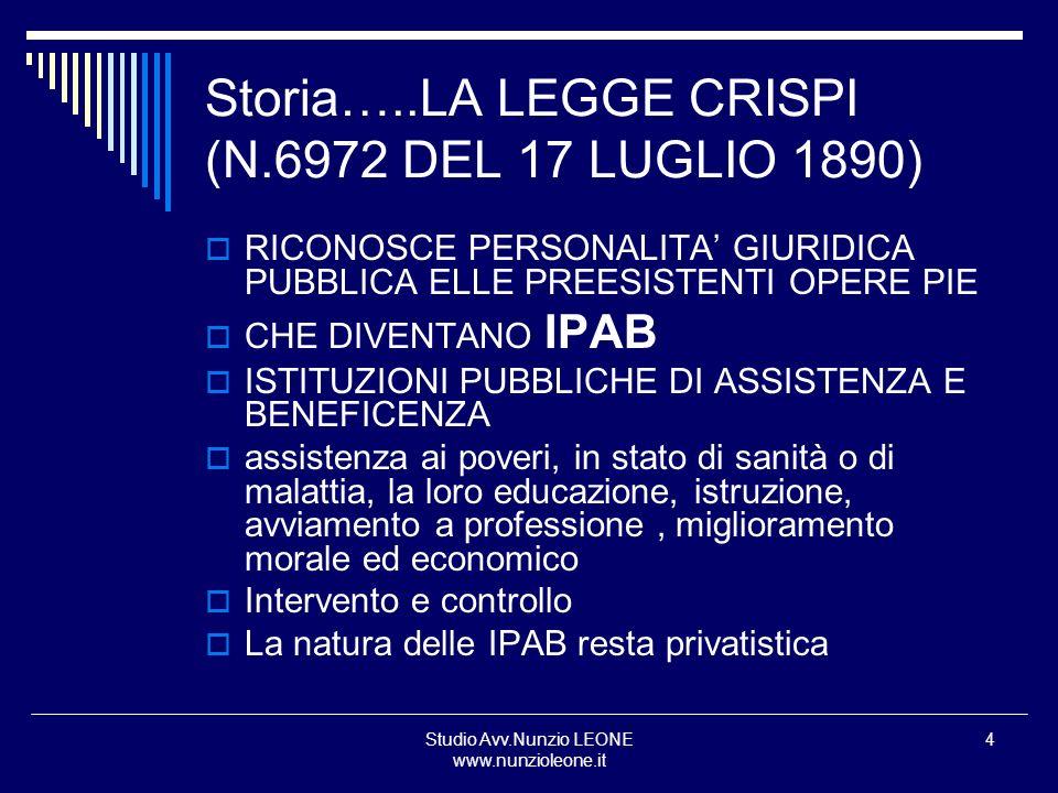 Storia…..LA LEGGE CRISPI (N.6972 DEL 17 LUGLIO 1890)