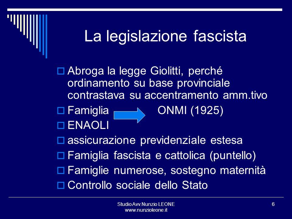 La legislazione fascista
