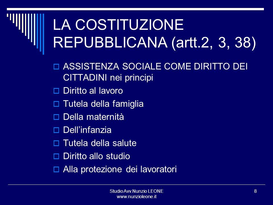 LA COSTITUZIONE REPUBBLICANA (artt.2, 3, 38)