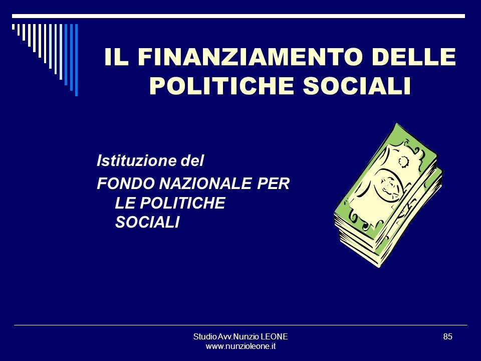 IL FINANZIAMENTO DELLE POLITICHE SOCIALI
