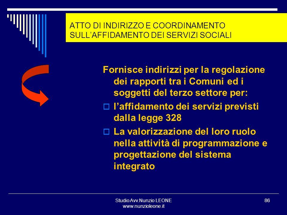 ATTO DI INDIRIZZO E COORDINAMENTO SULL'AFFIDAMENTO DEI SERVIZI SOCIALI