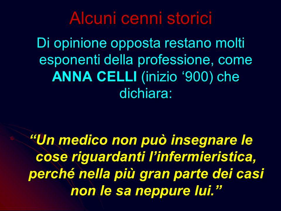 Alcuni cenni storici Di opinione opposta restano molti esponenti della professione, come ANNA CELLI (inizio '900) che dichiara:
