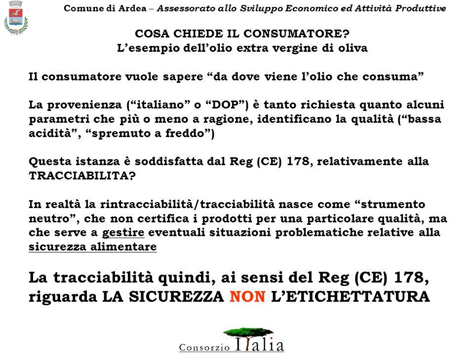 COSA CHIEDE IL CONSUMATORE L'esempio dell'olio extra vergine di oliva
