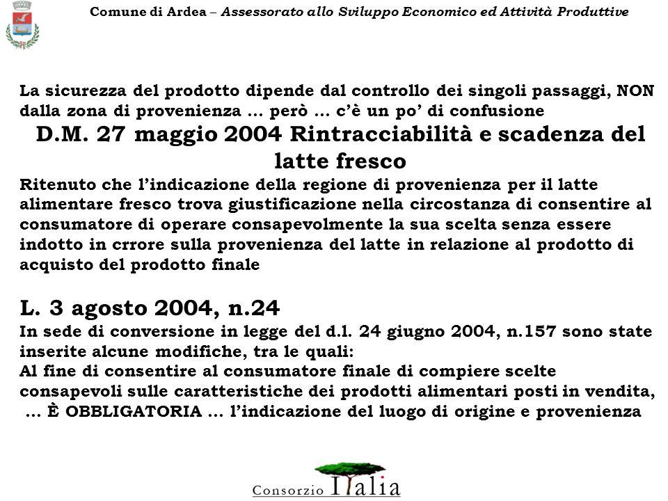 D.M. 27 maggio 2004 Rintracciabilità e scadenza del latte fresco