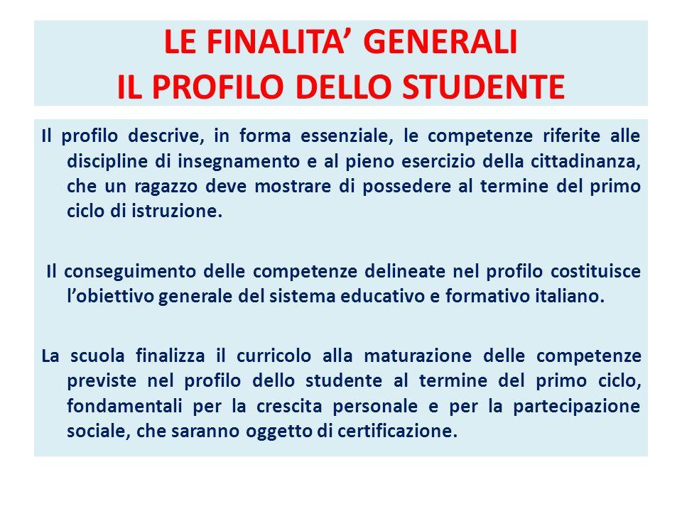 LE FINALITA' GENERALI IL PROFILO DELLO STUDENTE