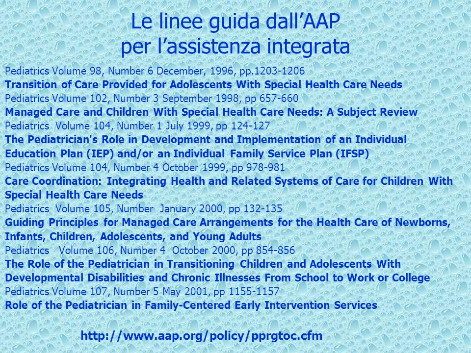 Le linee guida dall'AAP per l'assistenza integrata