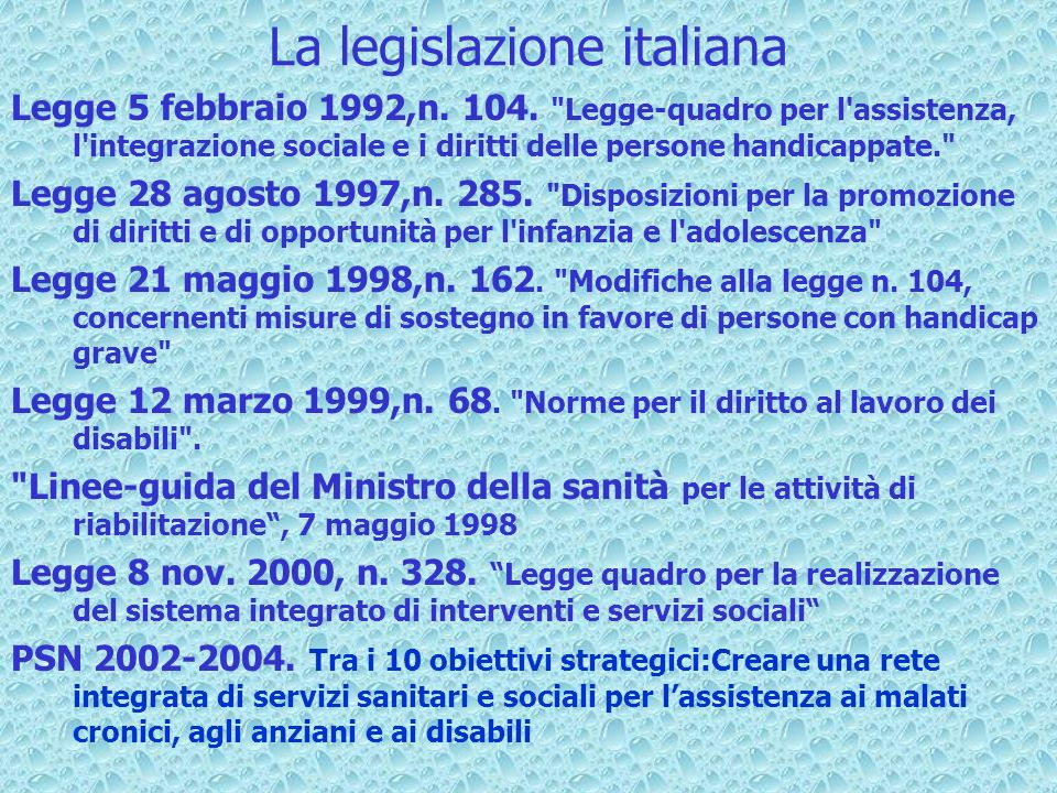 La legislazione italiana