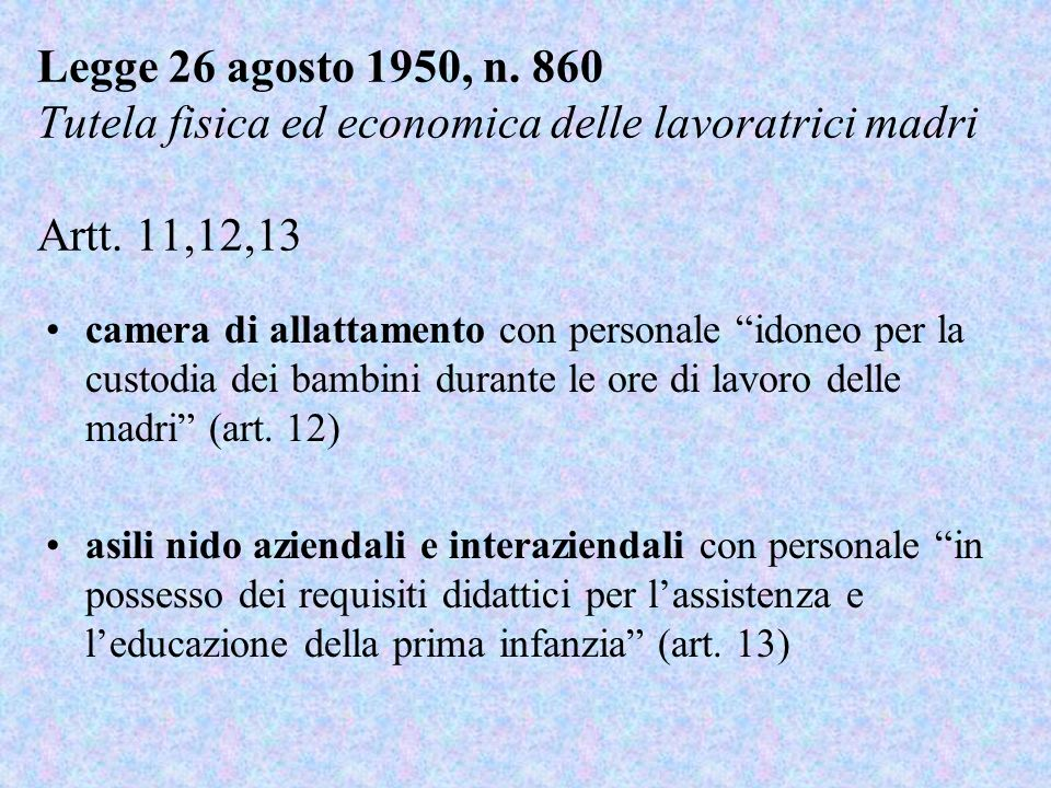 Legge 26 agosto 1950, n. 860 Tutela fisica ed economica delle lavoratrici madri Artt. 11,12,13
