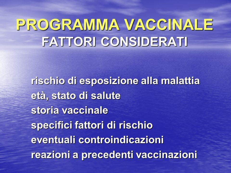 PROGRAMMA VACCINALE FATTORI CONSIDERATI