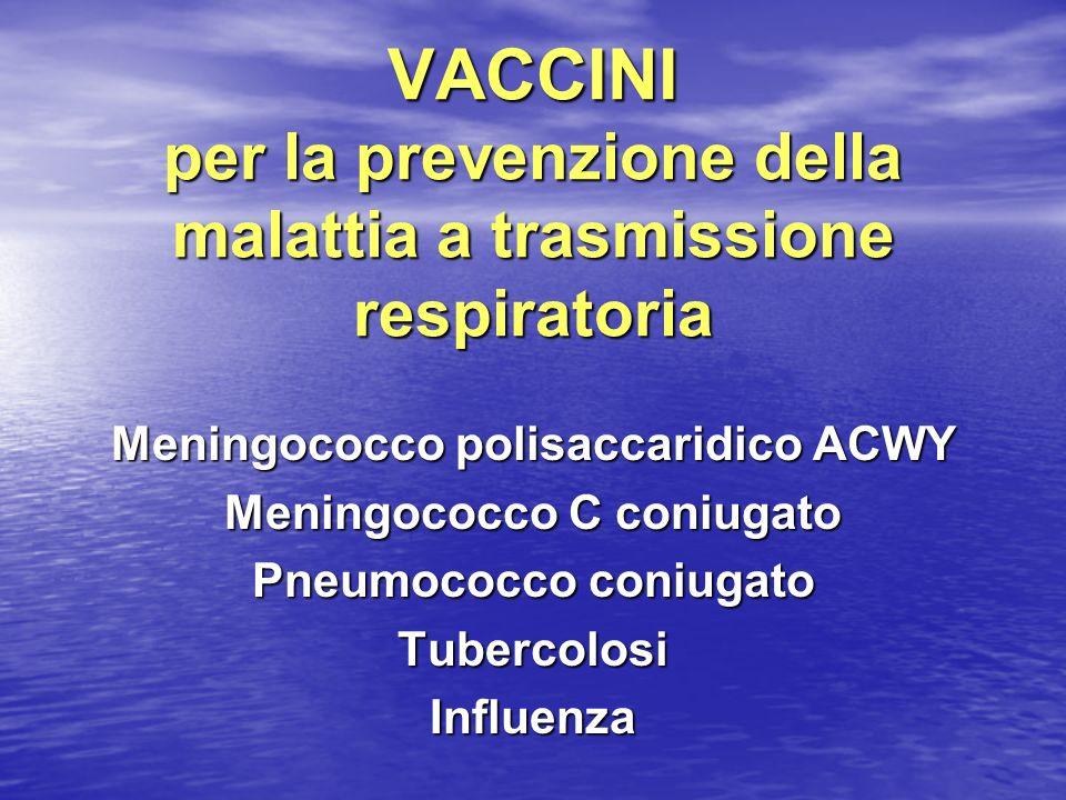 VACCINI per la prevenzione della malattia a trasmissione respiratoria