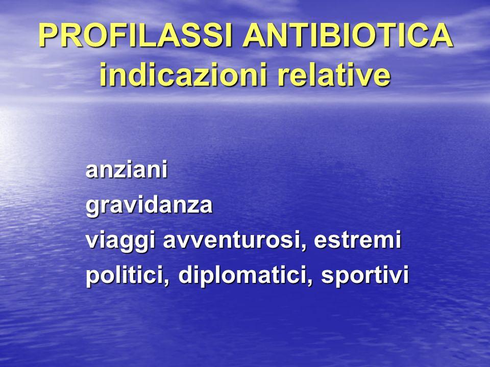 PROFILASSI ANTIBIOTICA indicazioni relative