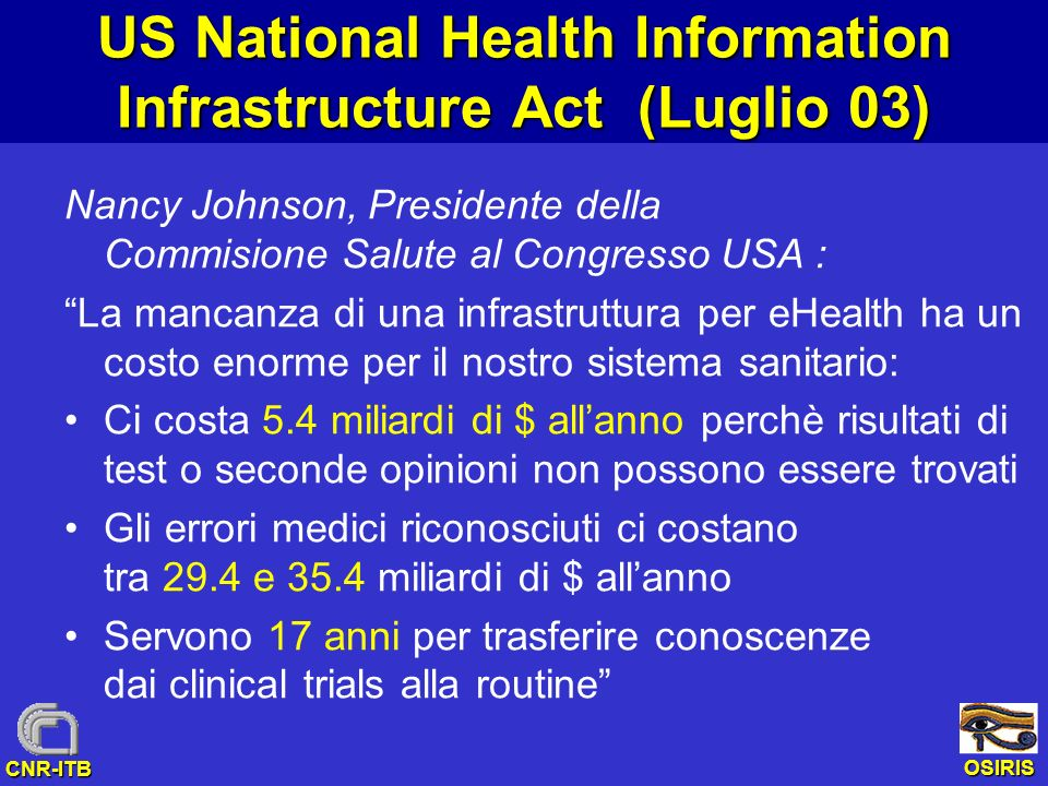US National Health Information Infrastructure Act (Luglio 03)