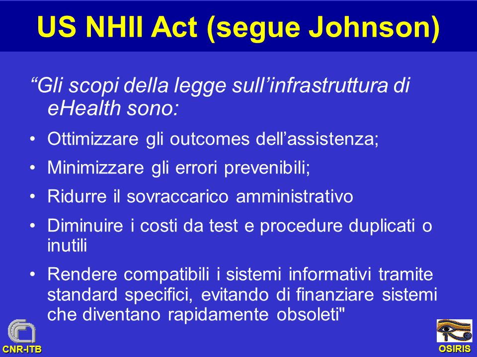 US NHII Act (segue Johnson)