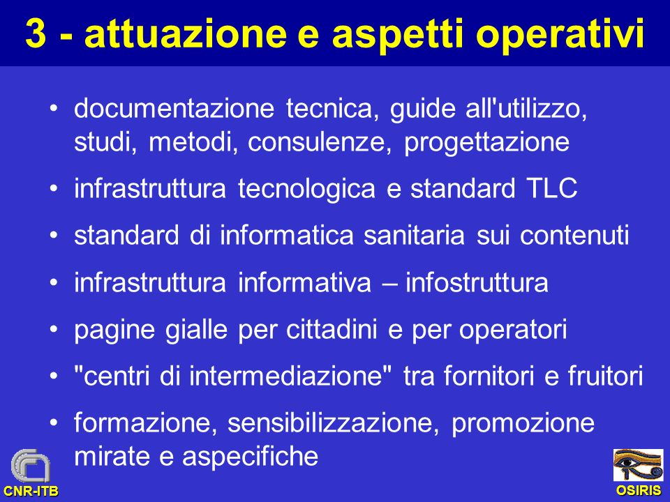 3 - attuazione e aspetti operativi