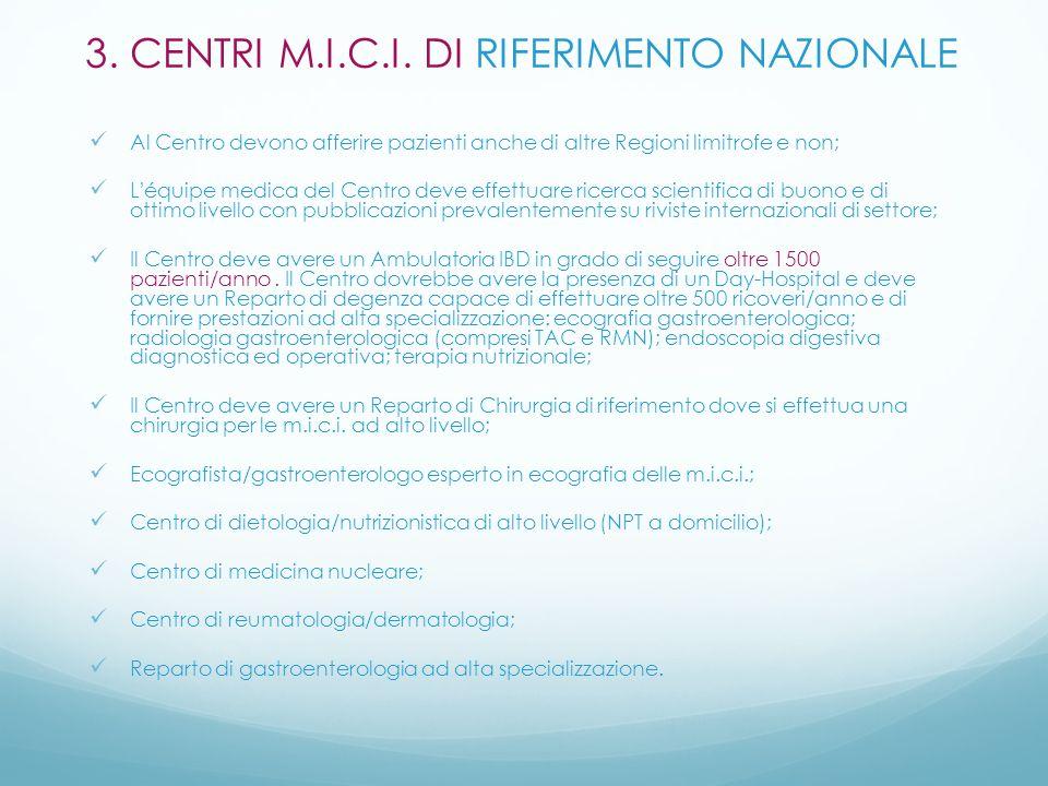 3. CENTRI M.I.C.I. DI RIFERIMENTO NAZIONALE