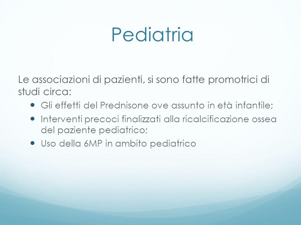 Pediatria Le associazioni di pazienti, si sono fatte promotrici di studi circa: Gli effetti del Prednisone ove assunto in età infantile;