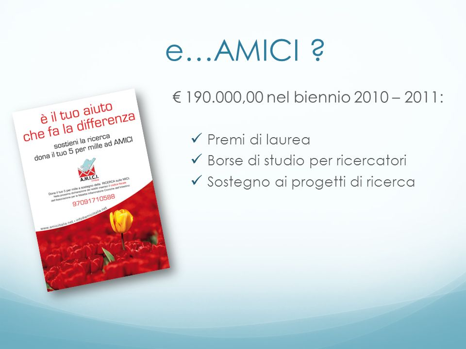 e…AMICI € 190.000,00 nel biennio 2010 – 2011: Premi di laurea