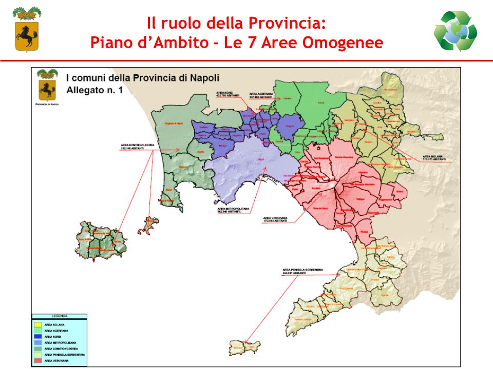 Il ruolo della Provincia: Piano d'Ambito - Le 7 Aree Omogenee