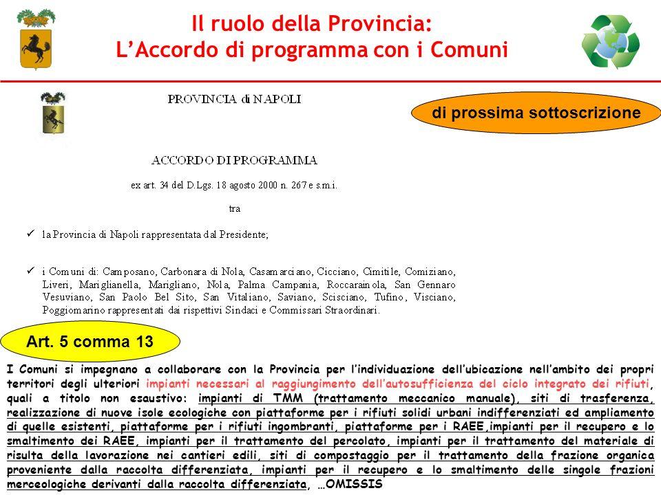 Il ruolo della Provincia: L'Accordo di programma con i Comuni