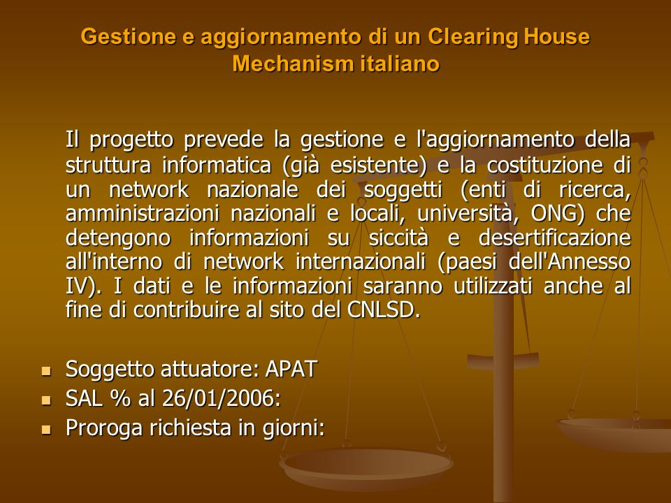 Gestione e aggiornamento di un Clearing House Mechanism italiano